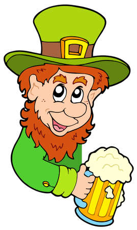 Lurking leprechaun on white background - vector illustration. Vector