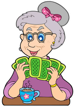 calm woman: Old lady playing poker - vector illustration. Illustration