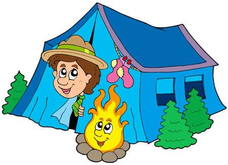 Scout acampando en la carpa - ilustración vectorial.  Foto de archivo - 6520552