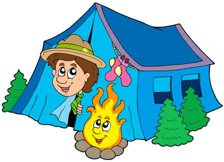 tent vector: Scout camping in tent - vector illustration. Illustration