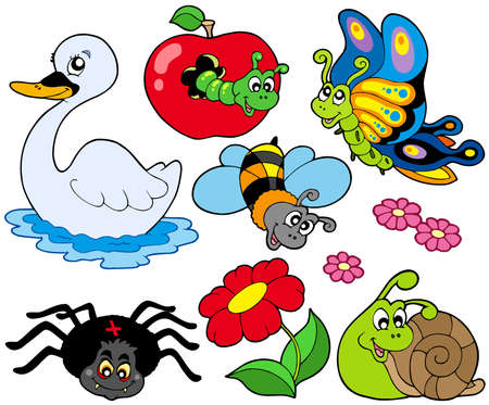cartoon butterfly: Small animals collection 9 - vector illustration.