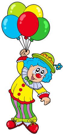 Divertido payaso sonriente con globos - ilustración vectorial.