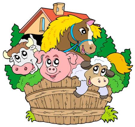 wooden horse: Group of farm animals - vector illustration. Illustration