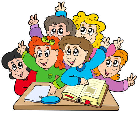educative: Group of school kids - vector illustration.