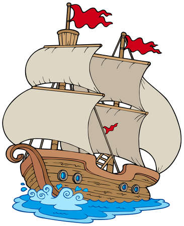 sailer: Old sailboat on white background - vector illustration.