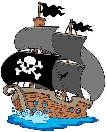 Pirate sailboat on white background - vector illustration.