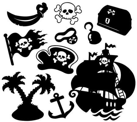 pirata: Colecci�n de siluetas de pirata - ilustraci�n vectorial. Vectores