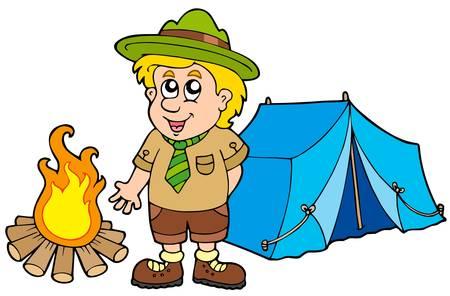 pfadfinderin: Scout mit Zelt und Feuer - Vektor-Illustration. Illustration