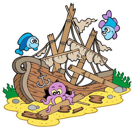 Shipwreck at sea bottom - vector illustration. Stock Vector - 6520538