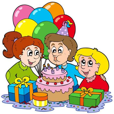 Three children at birthday party - vector illustration. Stock Vector - 6520544