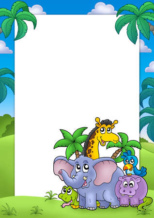 African frame with group of animals - color illustration. illustration