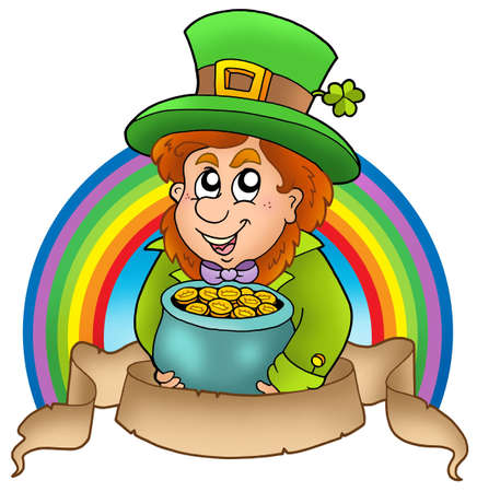 Banner with cartoon leprechaun - color illustration. illustration