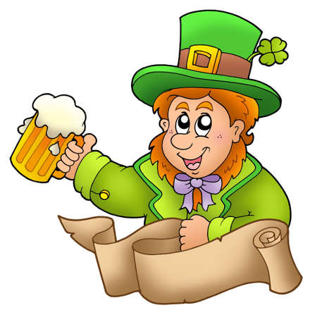 Banner with leprechaun holding beer - color illustration. illustration