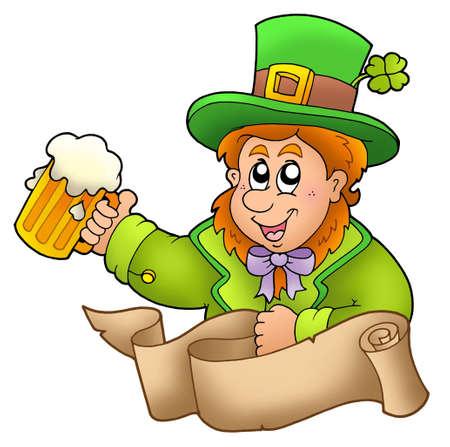 Banner with leprechaun holding beer - color illustration. Stock Illustration - 6520477