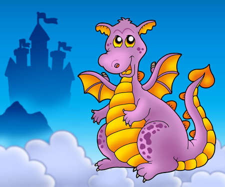 Big purple dragon with castle - color illustration. Stock Illustration - 6520474