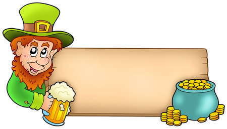 Board with leprechaun and gold - color illustration. illustration