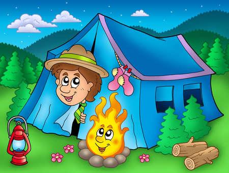 Cartoon scout boy in tent - color illustration. illustration