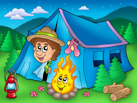 Cartoon scout boy in tent - color illustration.