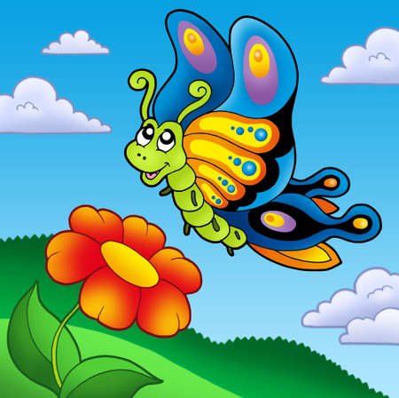 aerial animal: Cute butterfly with red flower - color illustration.