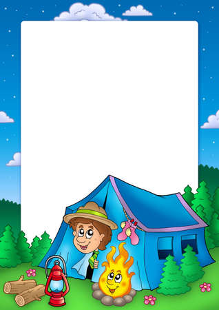 Frame with camping scout - color illustration. illustration