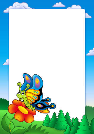 aerial animal: Frame with cute butterfly - color illustration.