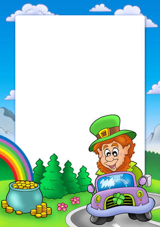 Frame with leprechaun driving car - color illustration. illustration