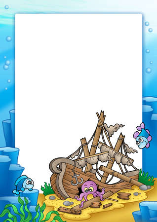 Frame with shipwreck in sea - color illustration. illustration