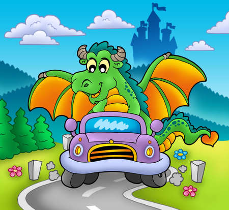 Green dragon driving car - color illustration. illustration