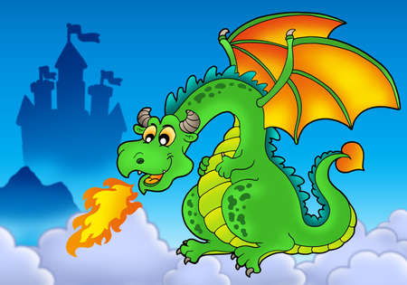Green fire dragon with castle - color illustration. illustration