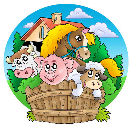 farm building: Group of country animals - color illustration.