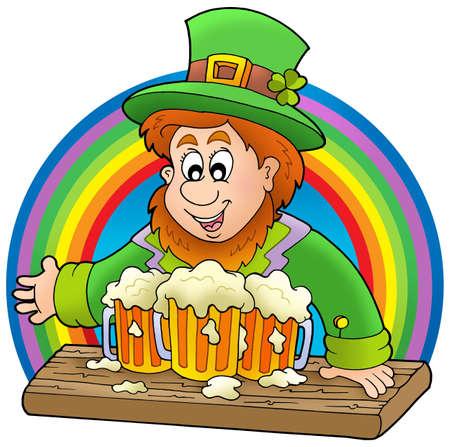 leprechaun hat: Leprechaun with beers and rainbow - color illustration.