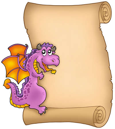 lurking: Old parchment with lurking dragon - color illustration.