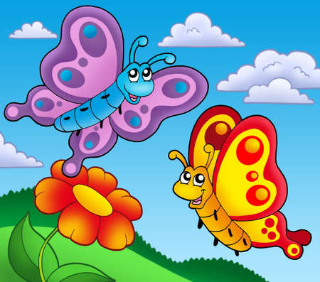 aerial animal: Pair of butterflies with red flower - color illustration.