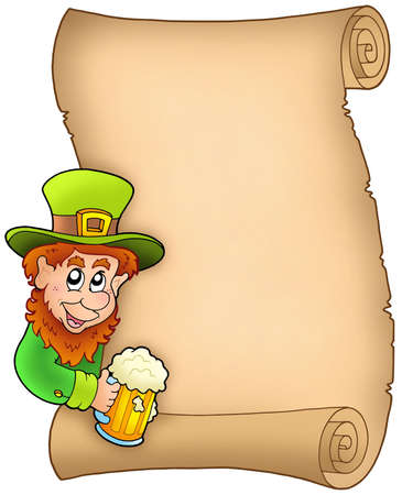leprechaun hat: Parchment with leprechaun and beer - color illustration.