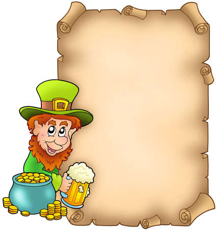 Parchment with leprechaun and gold - color illustration. illustration