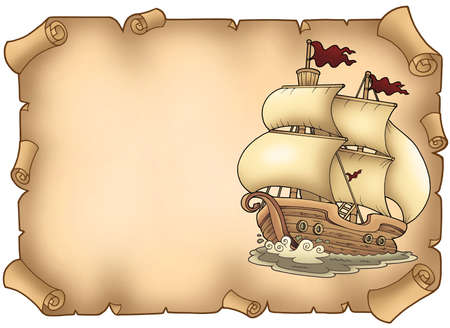 sailer: Parchment with old sailboat - color illustration.