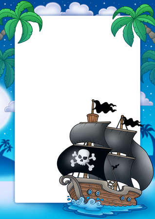 Pirate frame with sailboat at night - color illustration. Stock Illustration - 6520508