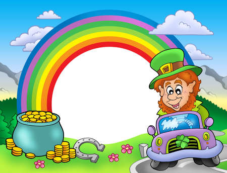 Rainbow frame with leprechaun in car - color illustration. illustration