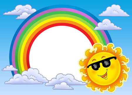 cartoon rainbow: Marco de arco iris con sol en gafas de sol - ilustraci�n de color.