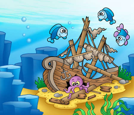 wreck: Shipwreck with octopus and fishes - color illustration.