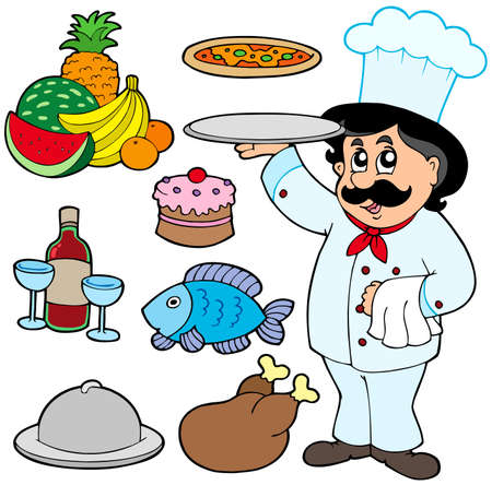 chef caricatura: Cocinero de dibujos animados con varias de las comidas