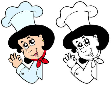gourmet cooks: Lurking woman chef Illustration