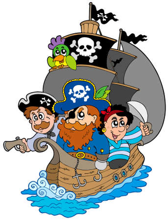 Ship with various cartoon pirates  Vector