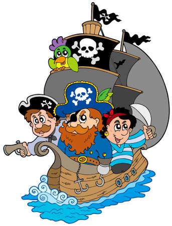 scar: Verzenden met verschillende cartoon piraten  Stock Illustratie