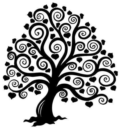 albero stilizzato: Albero stilizzato silhouette