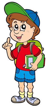 educative: Advising school boy - vector illustration. Illustration