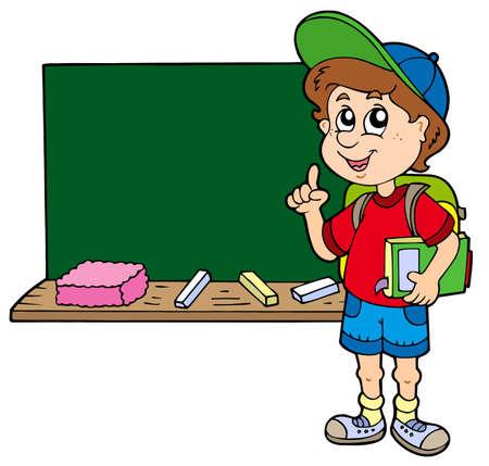 pupils: Advising school boy with blackboard