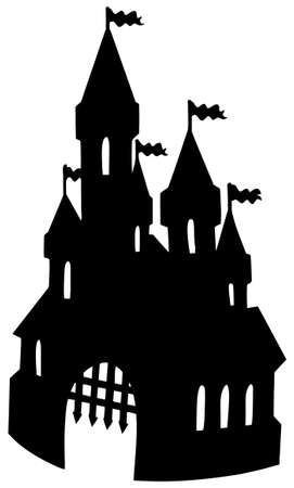 Old castle silhouette - vector illustration. Vector