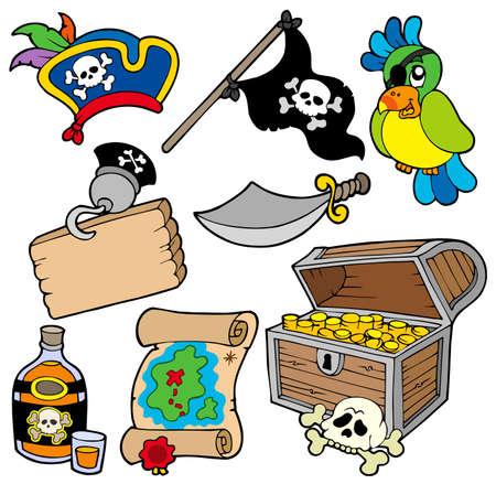 filibuster: Pirata insieme 10 su sfondo bianco Vettoriali