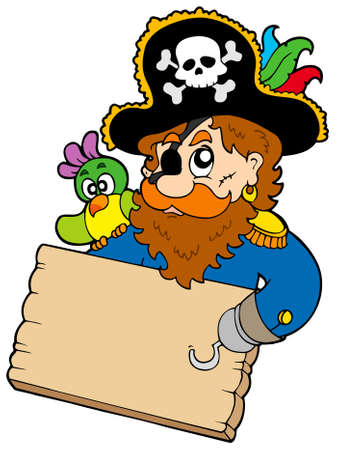 Pirate with parrot holding table  Stock Vector - 6579473